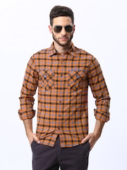 Mufti Men Orange & Blue Checked Casual Shirt