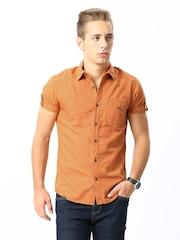 Mufti Men Rust Orange Casual Shirt