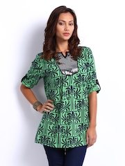 My Addiction Women Green & Navy Printed Tunic