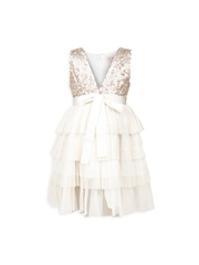 My Lil Berry Girls White Tiered Fit & Flare Dress