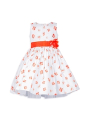 My Lil Berry Girls Orange & White Printed Fit & Flare Dress