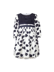 My Lil Berry Girls White & Black Printed A-Line Dress