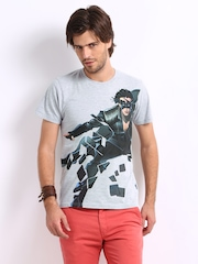 Myntra Men Grey Melange Krrish 3 Printed T-shirt