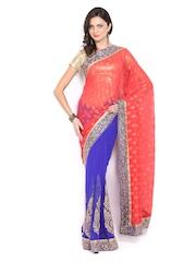 Mysilk Coral Red & Blue Chiffon Embroidered Fashion Saree