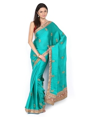 Mysilk Blue Embroidered Chiffon Fashion Saree