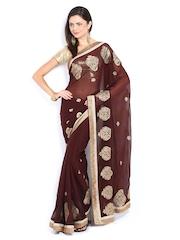 Mysilk Brown Embroidered Chiffon Fashion Saree