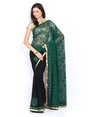 Mysilk Green & Black Embroidered Chiffon Brasso Fashion Saree