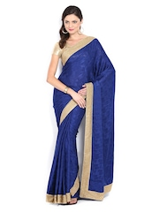 Mysilk Navy Jacquard Fashion Saree
