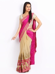 Mysilk Pink & Beige Jacquard Fashion Saree