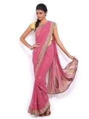Mysilk Pink Embroidered Chiffon Fashion Saree