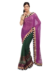 Mysilk Purple Chiffon Fashion Saree