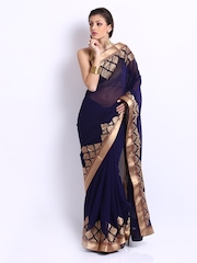 Mysilk Navy Embroidered Chiffon Fashion Saree