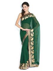 Mysilk Green Embroidered Chiffon Fashion Saree