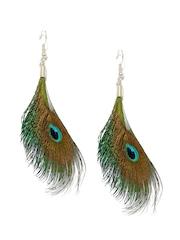 DressBerry Multicoloured Peacock Feather Drop Earrings
