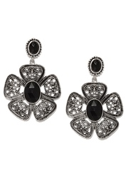 DressBerry Silver-Toned & Black Drop Earrings