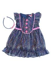 Nauti Nati Girls Navy Printed A-line Dress