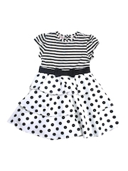 Nauti Nati Girl Black & White Polka Dot Dress