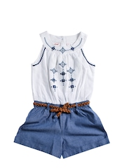 Nauti Nati Girls White & Blue Dress