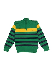 Nautica Boys Green Striped Sweater