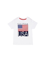 Nautica Boys White Printed T-Shirt