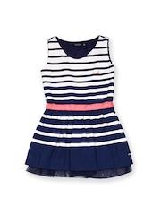 Nautica Girls White & Blue Striped Skater Dress
