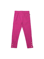 Nautica Girls Pink Striped Cotton Stretch Leggings