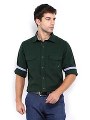 Nautica Men Dark Green Slim Fit Casual Shirt