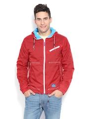 Nautica Men Red Hooded Jacket