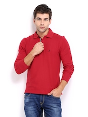 Nautica Men Red Slim Fit Polo T-shirt