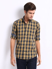 Nautica Men Mustard Yellow & Navy Checked Casual Shirt