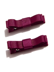 Girls Set Of 2 Wine-Coloured Alligator Hair Clips NeedyBee