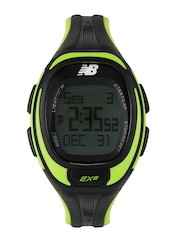 New Balance Men Black & Lime Green Digital Watch