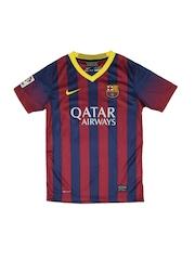 Nike Boys Navy & Maroon Striped FCB Football Jersey