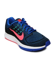 Nike Men Black & Blue Air Zoom Structure 18 Running Shoes