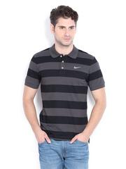 Nike Men Black & Charcoal Grey Striped Polo T-shirt