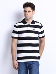 Nike Men Black & White Striped Polo T-shirt