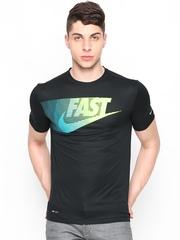 Nike Men Black AS Run P Challenger 4 Graphic Printed T-shirt