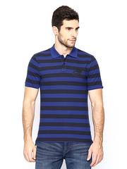 Nike Men Blue & Black Striped AS Nike GS Polo T-shirt