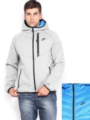 Nike Men Blue & Grey Melange Aeroloft Windrunner Hooded Reversible Jacket