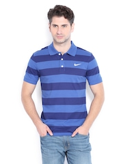Nike Men Blue Striped Polo T-shirt