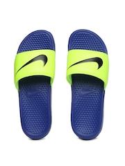 Nike Men Fluorescent Green & Blue Benassi Swoosh Flip-Flops