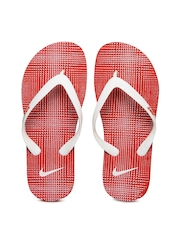 Men White & Red Flip Flops Nike
