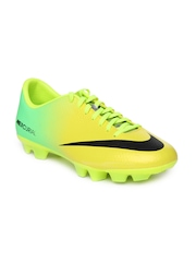 Nike Men Green & Yellow Mercurial Victory IV HG-V Sports Shoes
