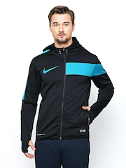 Nike Men Black AS GPX FZ POLY HOODY Hooded Football Sweatshirt
