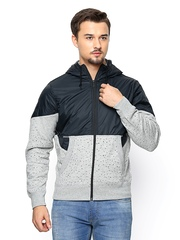 Nike Men Black & Grey Melange AS NIKE AW77 BB FZ HOODY Hooded Jacket