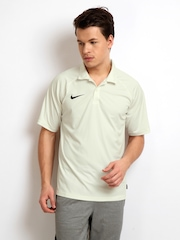 Nike Men Off-White Cricket Polo T-shirt