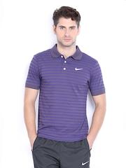 Nike Men Purple Striped Polo T-shirt