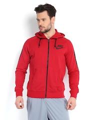 Nike Men Red Hooded Jacket