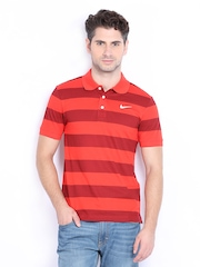 Nike Men Red & Maroon Striped Polo T-shirt