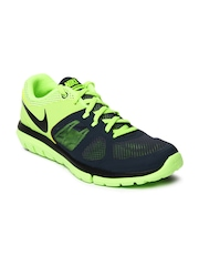 Nike Men Grey & Neon Green Flex 2014 RN MSL Running Shoes